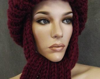 Knit Toboggan,Knit Scarf, Hand Knit Scarf Set,Accessories, Women, Burgundy Hat, Winter Hat, Ski Hat,Uniquely Ewe,Women's Gift,Xmas Gift