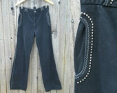 "Vintage Studded Denim Trousers  //  Vtg 70s Distressed High Waist Saddleback Wide Leg Black Jeans w/ Silver Nail Head Detail  //  29"" waist"