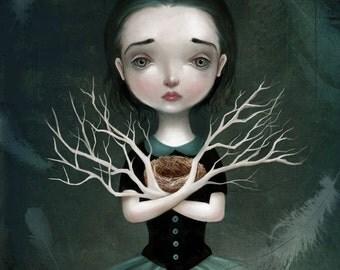 ON SALE Empty Nest 11X14 print -- Daphne, bird egg bird nest, melancholy art emotional illustration of girl dark fairytale by - Meluseena