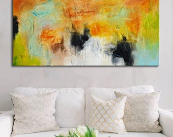 Acrylic original abstract painting, abstract large painting, painting on canvas, ready to hang, wall art, blue green painting, long painting