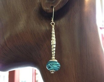Summer Sale Turquoise Filigrana Lamp Work Earrings by Kate Drew-Wilkinson