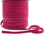 Three Yards Velvet Ribbon Trim Fuchsia Pink .25 Inch Wide 1/4 Inch Wide VR200-FU