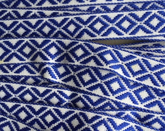 Italy 2 Yards Vintage Woven Edging Fabric Sewing Trim Blue And White  IT 46