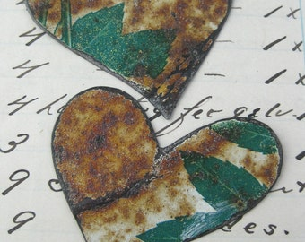 2 rusty tin heart hand cut for your art projects cut from vintage tin No3
