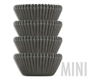 Mini Solid Black Baking Cups - 50 solid black mini paper cupcake liners
