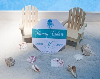 Jellyfish Beach Badge Wedding Table Number Sign Deposit