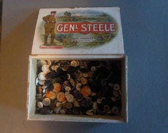 Buttons Box of Buttons Wooden Box of Buttons GENERAL STEELE Cigar Box Full of Various Buttons