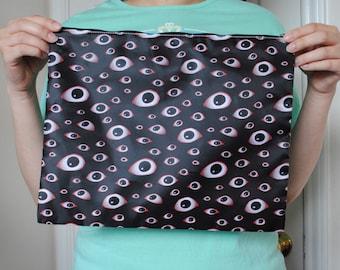 Giant Cosmetics Bag / Pencil Bag / Zipper Bag - Goth Horror Spooky - Creepy Eyeball Pattern