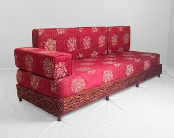 MOROCCAN 1970s cedar carved traditional moroccan sofa with brocade cushions