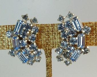 Vintage Kramer Blue Rhinestone Earrings