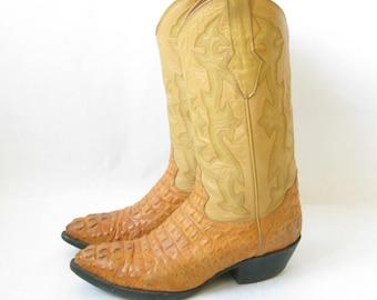 Vintage 70's Crocodile// Alligator Cowboy Boots. Size 9 Men's/  11 Women's