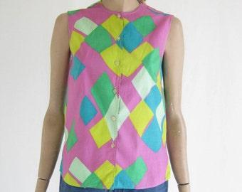 Vintage 60's MOD Sleeveless Blouse. Size Small