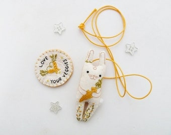 Bunny Carrot Kids Necklace and Patch Set Embroidery Miniature Plush