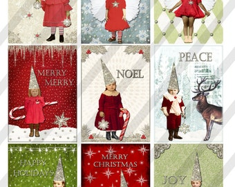 "Digital Collage Sheet, Christmas Images, 2.5"" X 3.5"" ATC Sized Images, and 4"" x 6"" Sized (Sheet no. H37) Instant Download"