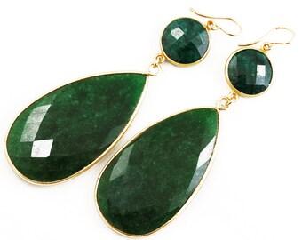 Angelina Precious Emerald Earrings Statement Earrings Genuine Green Emerald Earring Real Emerald Jewelry May Birthstone BZ-E-103-Em