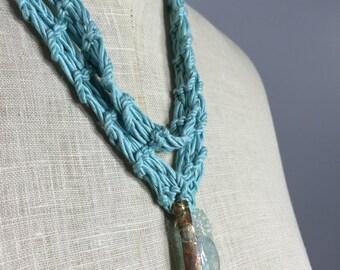 Uniquely Designed Necklace-Aqua Silk Cotton Cord with Aquamarine Disc, Aquamarine Bead Tendrils, Textured Patinaed Coppered Silver Dangle
