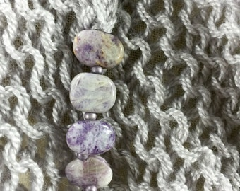 Mindful Wrap, Wearable Fiber Art-Purple Crazy Lace Agates on a Lavender Gray Cloud Soft Merino and Silk Mindfulness Mantle