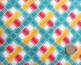 Vintage Fabric, Vintage 1940's Feedsack Cotton  Fabric, Red, Yellow, Blue Geometric Design, Lattice Pattern, Quilt Piecing, Vintage Sewing