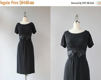 STOREWIDE SALE 1960s Little Black Dress / Vintage 1950s Black Rayon Crepe Wiggle Dress / Fitted Satin Bow Belt 50s Dress