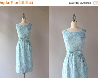 STOREWIDE SALE 1950s Wiggle Dress / Vintage 50s 60s Embroidered Floral Dress / 50s Blue Bow Belt Fitted Cotton Dress