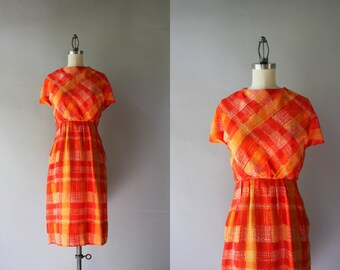 60s Dress / 1960s Bud Kilpatrick Orange Silk Dress / Vintage 60s Silk Dress with Pockets