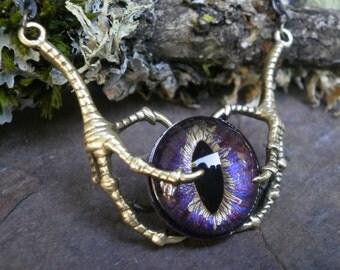 Gothic Steampunk Raven Claw With Moxy Purple Gold Eye