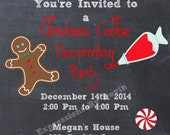 Christmas Cookie Decorating Party Themed  Printable Invitation 5x7 Digtial Invitaion