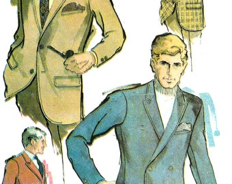 1960s Jacket Pattern Single Double Breasted Coat Uncut McCall's Vintage Sewing Men's Size 38 Chest 38 Inches