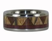 Tribal Wood Titanium Ring