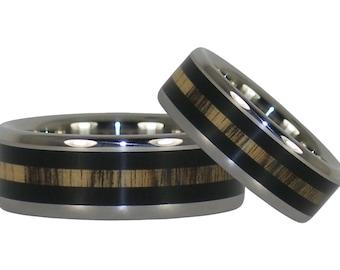 Black and White Ebony Wood Titanium Ring Set