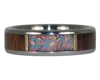 Fire Opal and Koa Wood Ring, Opal is Cultivated