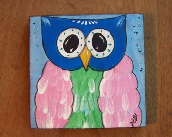 Owl Painting Original, whimsical, bright, colorful fun folk art painting