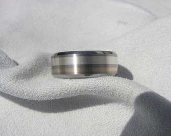 Titanium Ring, Wedding Band, Silver and Rose Gold Stripe Inlays