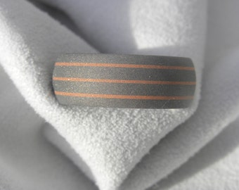 Titanium Ring With Copper Pinstripes, Wedding Band, Sandblasted Finish
