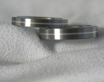 Matching Ring SET, Titanium Silver Pinstripe Inlay Wedding Bands, Satin Finish