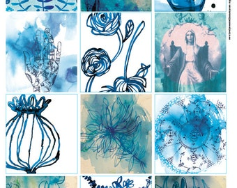Blue Wash Tags - Digital Download Set of 12 Sweet William illustrative tags