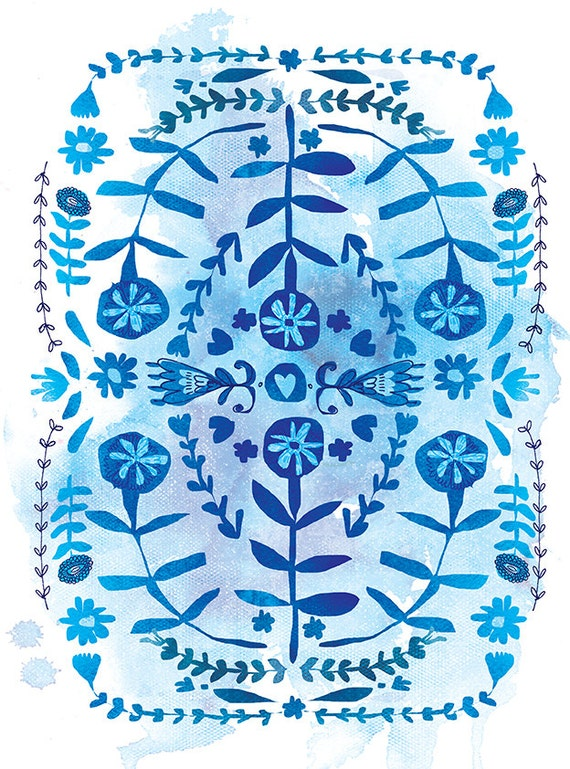 SALE Blue And White Patterns Archival Wall Art Print