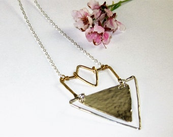BOHO SHEILD - Mixed Metals Sterling Silver 14K Gold filled Components Long Layering Necklace