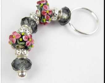 European Style Keychain Car Accessories Murano Lampwork Glass Beads Pink Flower Key Chain