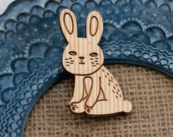 Rabbit Brooch, Woodland Rabbit, Wood Jewelry, Animal Brooch