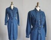VALENTINES DAY SALE sale /// 1980s denim button up shirt dress / xs - s