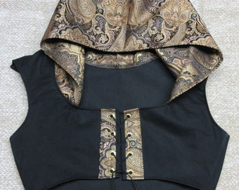 Short Bodice with Trimmed Hood in Black Cotton Twill and Hand Made Trim, Bust 38.25""