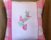 Butterfly Pillow, Embroidered Pillow, Pillow Wrap, Throw Pillow, Decorative Pillow