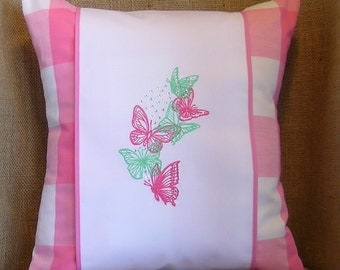 Embroidered Pillow, Butterfly Pillow, Pillow Wrap, Throw Pillow, Decorative Pillow