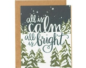 All is Calm, All is Bright Snowy Illustrated Card - Boxed Set of 8//1canoe2