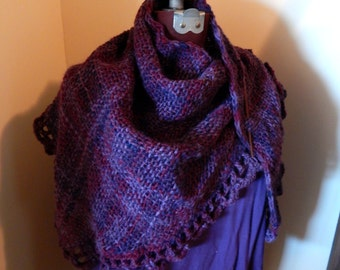 Hand Woven Triangle Shawl Wool Acrylic Blends