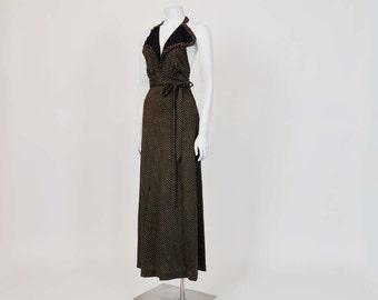 70s dress / Seeing Spots Vintage 1970's Halter Polka Dot Maxi Dress