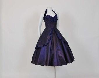 1950s dress / Vintage 50's Taffeta Velvet Halter Full Skirt Dress