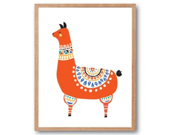 Llama in Folk Costume Art Print, llama illustration, Animal Illustration, Children's Book Art, Kids room art, Nursery Decor, home decor
