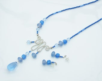 SET - French Blue Sculptured Pendant Necklace and Earrings
